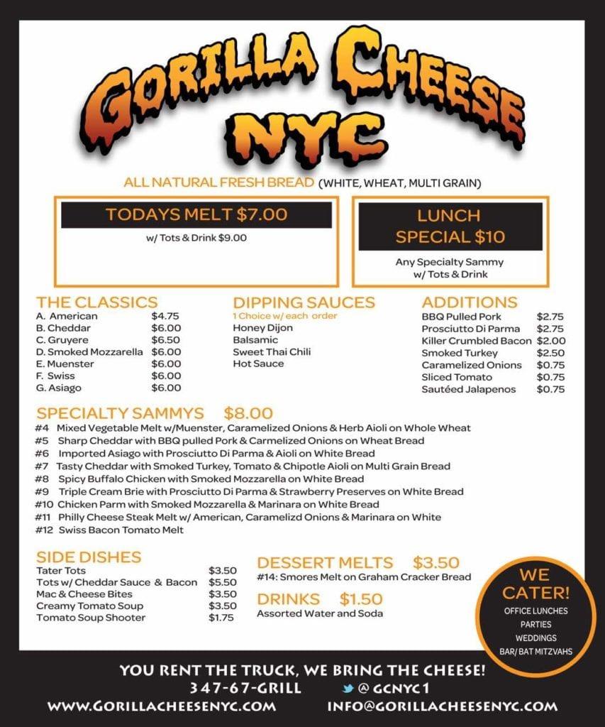 Gorilla Cheese NYC Menu