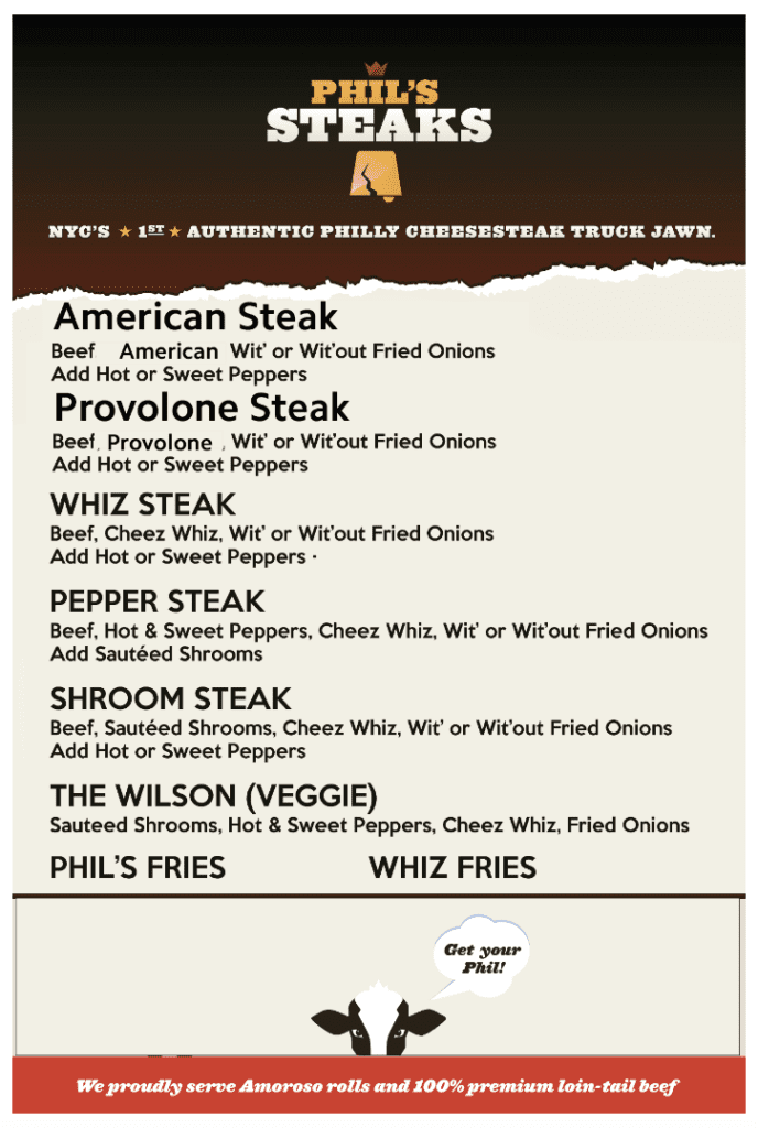 Phils steaks menu