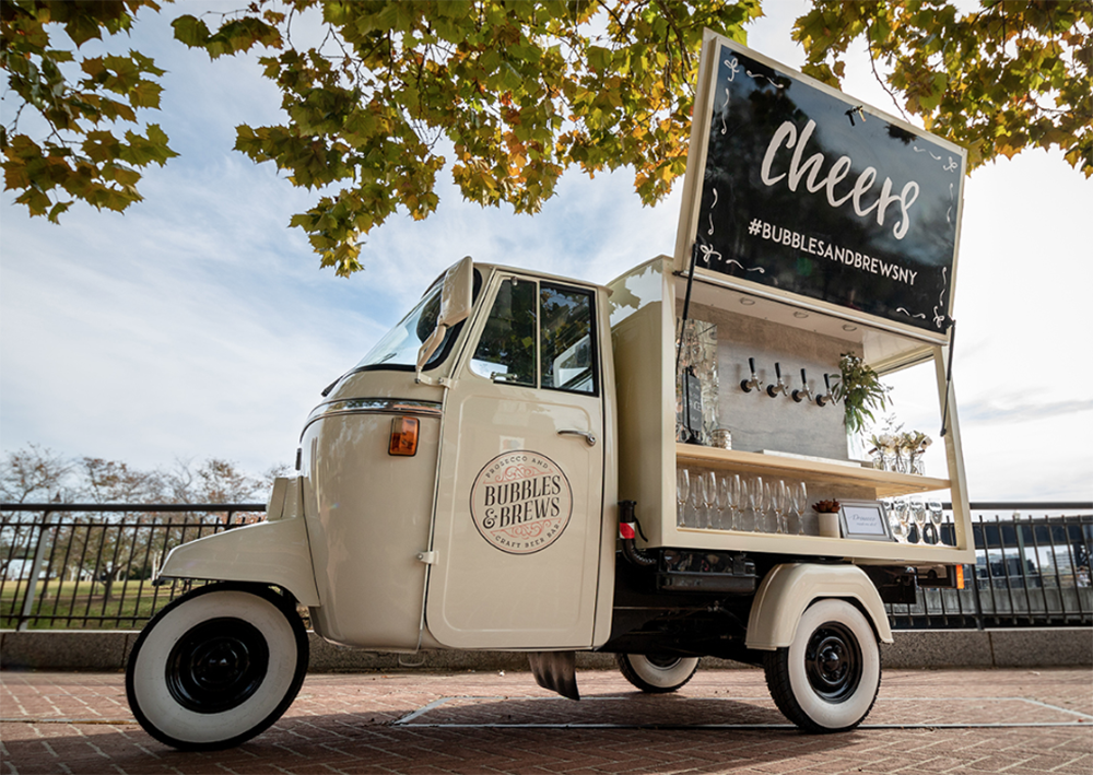 Bubbles and brews prosecco vintage truck wedding catering