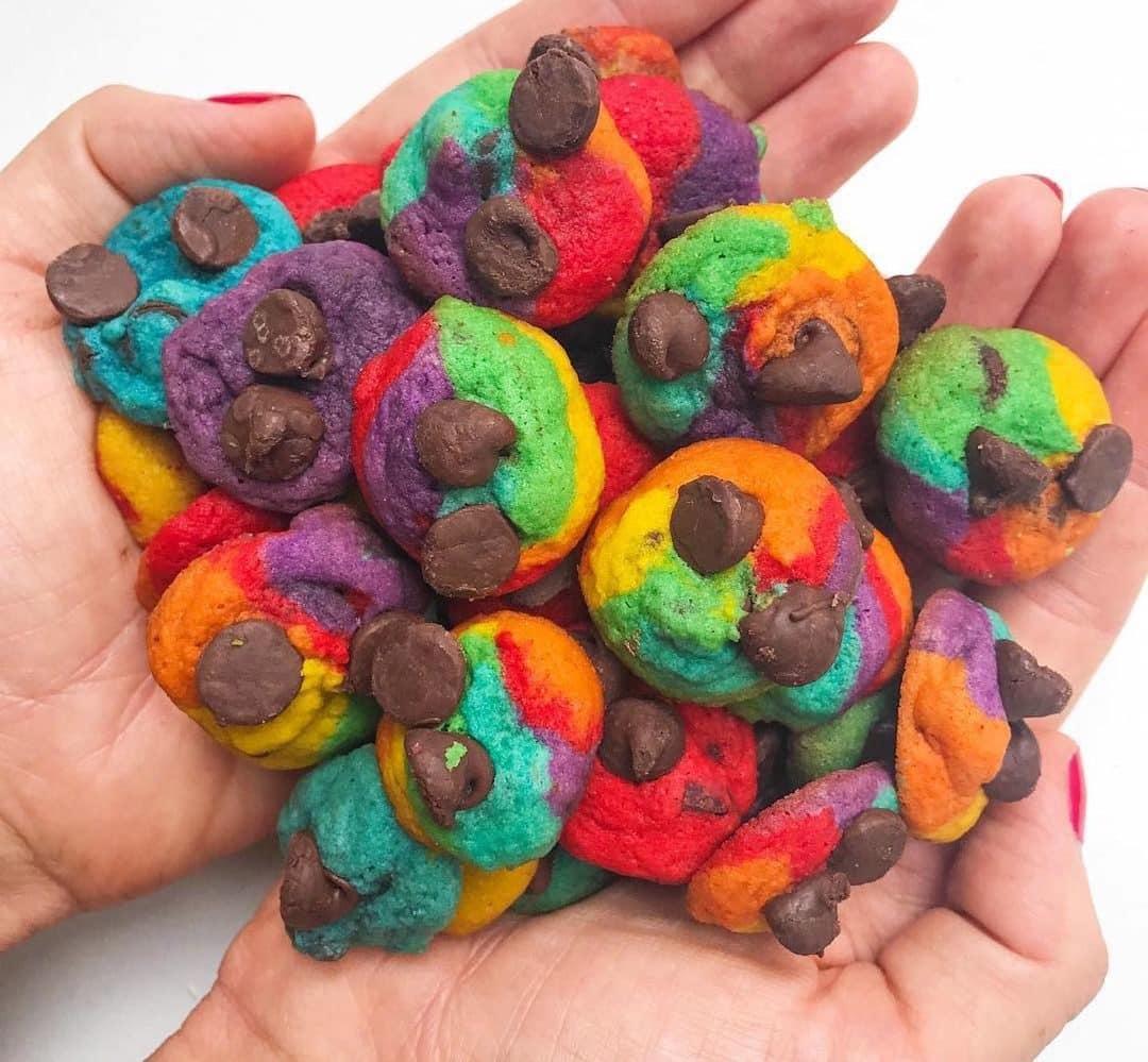 Rainbow Bite Size Chocolate Chip Cookies