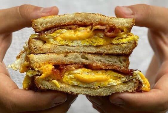 egg cheese bacon breakfast sandwich food truck