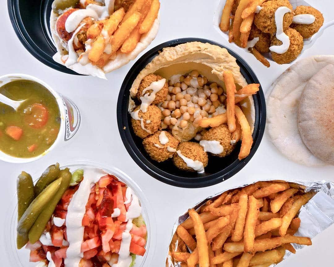 Moshe's Falafel Hummus Fries Soup Salad and Pita