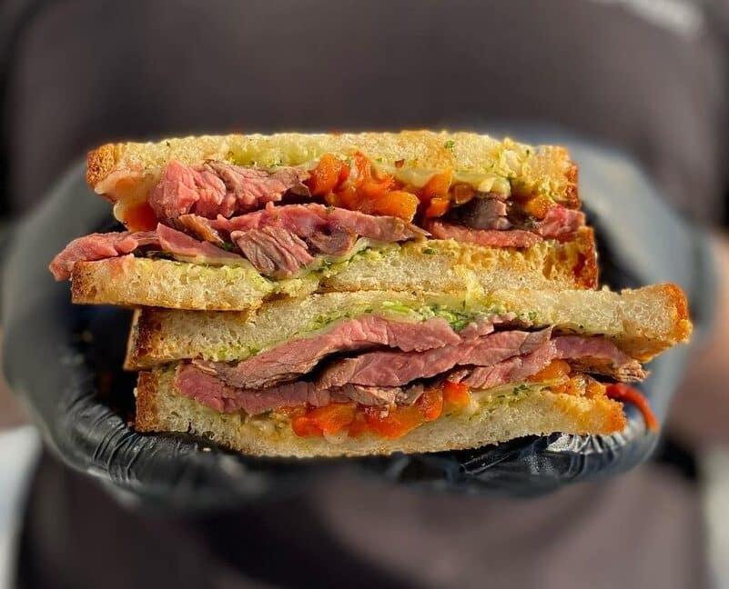peruvian steak sandwich from hand held food truck